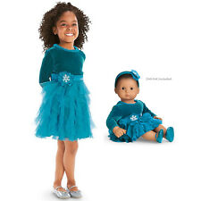 American Girl CL BITTY BABY DUO TEAL TIDINGS DRESS SIZE 3 for Girls & Dolls NEW
