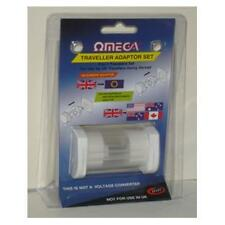 Omega 21117 Travel Adaptor 3 Pin UK to Worldwide Europe USA Canada Australia NZ
