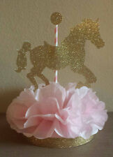 CAROUSEL HORSE PINK GOLD CENTERPIECE BIRTHDAY PARTY BABY SHOWER TABLE DECOR