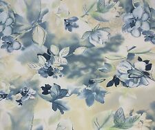 """COVINGTON  FLORAL BLUE WATERCOLOR COTTON  FABRIC BY THE YARD 54""""W"""