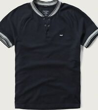 NWT Abercrombie & Fitch Raglan Baseball Henley Tee Short Sleeve Navy Large