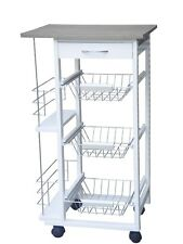 White Wood Extended 3 tier Kitchen Trolley Cart with storage drawer and baskets