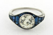 Art Deco 1.85 Carat Diamond Sapphires Platinum Ring