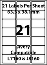Avery J8160 Compatible Inkjet/Laser - 21 Printer/Copier Labels - 25 Sheets