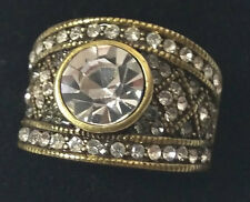 New HEIDI DAUS Clear Multi Swarovski Crystal THE DAILY DOUBLE Band Ring Size 7