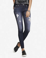 New Express $80 Mid Rise Jean Legging Fade Wash Destroyed Distressed Size 6