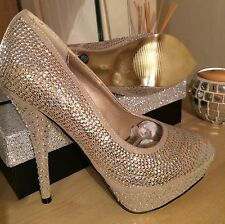 Womens Sequined Diamante Platform Heels Nude/gold Party Shoes Stiletto UK Size 5
