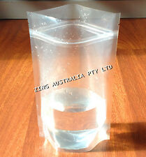 100X 250G(750ML) PLASTIC STAND UP POUCH BAG, ALL CLEAR, WITH ZIP LOCK
