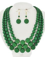 Three Layers Green Lucite Bead Gradual Necklace Earring Set