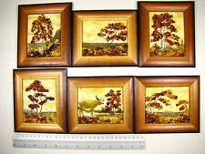 Hand Made Mosaic Baltic Amber Natural Wooden Pictures #125 LOT of 6pcs