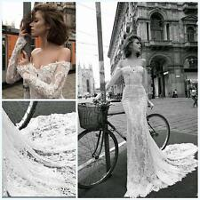 Vintage Lace Off Shoulder Long Sleeve Mermaid Wedding Dresses Bridal Gown Custom