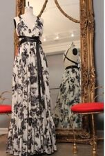 SHAREEN VINTAGE black & white floral print alexa gown leather straps sz 6