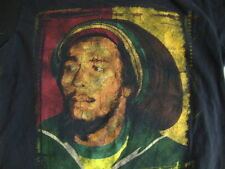 "BOB MARLEY ""Get Up, Stand Up"" Painting Black Reggae T Shirt Men's Size M"