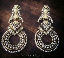 Stunning gold, lilac, crystal & pearl cocktail chandelier statement earrings