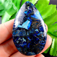 A3372 Beautiful Blue Sea Sediment Jasper & Pyrite Teardrop Pendant Bead
