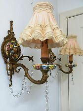 Gorgeous Pair Wall Sconces Chic Shabby Italian Tole Capodimonte Crystal Prisms