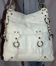 KATE LANDRY Large Off-White Leather Shoulder Hobo Tote Slouch Carryall Purse Bag