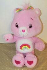 "Care Bears Cheer 15"" Plush 2007 TCFC rainbow hair bow purple- pink color bear"
