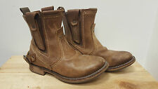 Caterpillar Mens CAT RAW Vinson Tan Brown Leather Biker Boots, UK 6 Wide Fit