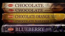 CHOCOLATE Choc-Orange Blueberry 60 HEM Incense Sticks 3 Scent Sampler Gift Set