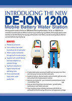 Mobile battery water station for destilled/de-ionised water