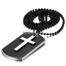 Alloy Black Dog Tag Silver Cross Polished Pendant Men's Charm Necklace Chain