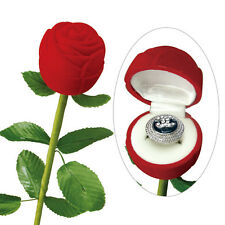 "1 Rose Flocked Jewelry Ring Boxes w/ long Stem, Red Velvet 2"" x 2 3/4"" x 10"""