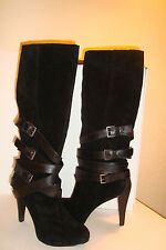 Nine West Womens Very Disco Black Leather Boots Shoes 8.5 MED PREOWNED