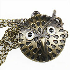 Owl Pocket Watch Necklace Steampunk Vintage Antiqued Bronze Pendant