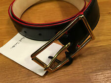 "Paul Smith Black Leather Belt 30"" MENS BLACK DECO SUIT BELT Handcrafted in Spain"