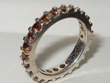 Beautiful modern Qvc 925 Sterling silver Cognac Diamonique full eternity ring
