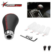 Universal Manual Car Black Leather Red Stitche Gear Stick Shift Knob Shifter