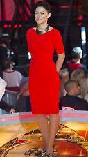 Rare! ZARA Red Pencil Bodycon Midi Dress Size Medium M Stretch Bright Red Party