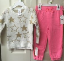 Girls Winter Outfit Two Piece Set Toddler Size 3T Sweater Pants Beige Pink
