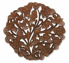 Teak Relief Panel Rose Bouquet Hand Carved Wood Unique Wall Art NOVICA Thailand