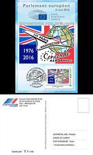 """CO-RET65 Card Eur. Parliament """"40. 1st Concorde flight Paris-Washington"""" 8-5-16"""