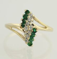 Emerald & Diamond Cocktail Bypass Ring - 14k Yellow & White Gold 8 Fine .33ctw