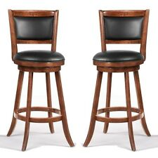 "Swivel Wood Dining Chairs 29""H Bar Stool Set of 2 Espresso w/ Upholstered Seat"