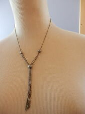 VINTAGE 90'S...SHIMMERY SILVER TONE BALL & CHAIN SIMPLE FASHION NECKLACE...