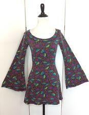 Betsey Johnson Women's Medium Vintage Stretchy Bell Sleeve Mini Tunic Dress USA