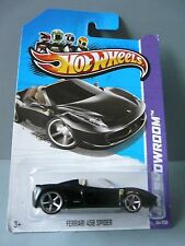 ~1/64-HOT WHEELS-2013 HW SHOWROOM #151/250-2012 FERRARI 458 SPIDER-BLACK-NEW/MOC