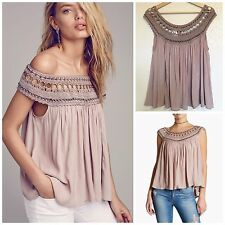 FREE PEOPLE Feel Free top, SMALL NWT$128 Taupe, Off Shoulder, light lavender