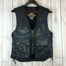 VINTAGE HARLEY DAVIDSON Willie G Cargo Stile Biker in Pelle Nera S VEST USA MADE