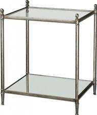 Luxe SILVER Metal Side Table Iron Open MINIMALIST Accent End Glass Top Mirrored
