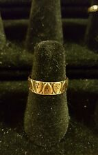 Vintage Estate 9Kt Yellow Gold Heart Band Ring Size 5.5 Wedding Band