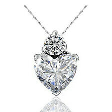 Valentine's Day Crystal Rhinestone Heart Jewels Necklace Pendant Love Chain Gift