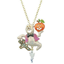 "Kirks Folly Boo Boo Ghost Halloween Pin/Pendant/20"" Removable Goldtone Necklace"