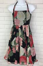 Alice + Olivia Floral Ruffle Bottom Halter Fit & Flare Party Dress Size 2