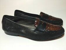 BRAGANO BY COLE HAAN WOVEN LEATHER PENNY LOAFERS MENS 8.5 D SHOES BROWN BLACK