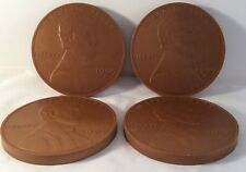 1909 S ONE CENT  COASTERS  LARGE NOVELTY SET Of (4)  four coins  5""